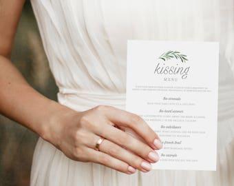 Printable Kissing Menu Template, Printable Wedding Games, Wedding Kissing Menu, Wedding Table Games, Kissing Menu Printable - KPC02_408