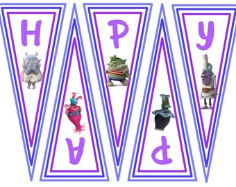 Troll Happy Birthday Banner