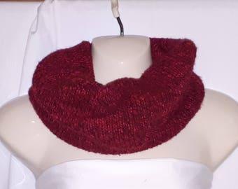Deep cherry cowl prayer scarf repurposed