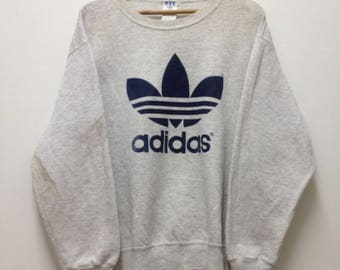 Vintage Adidas Sweatshirt Adidas Trefoil Spellout Big Logo Hip Hop Swag Pullover Jumper Sweater Sportwear Made in USA