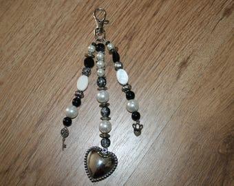 Bag, key ring, black, white, silver, heart