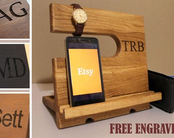 Personalized gift Docking Station  iphone docking Charging Station wood docking station iPad holder Desk organizer Wooden iPad Stand