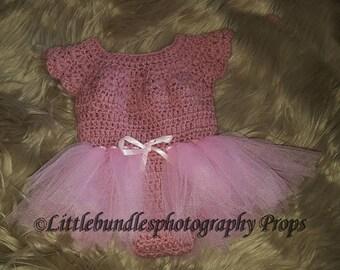 Newborn ballerina crochet in body and tutu style skirt.