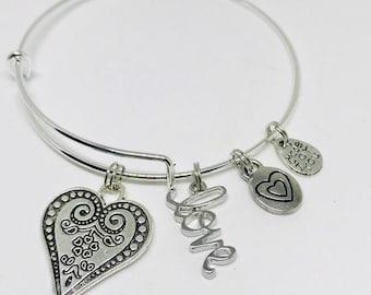 Love- Silver adjustable charm bracelet