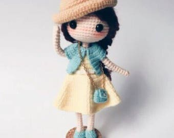 Amigurumi doll pattern, crochet doll pattern, cute little girl