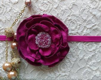 Genuine leather flower headband/For girl/For women/For teen/pin brooch