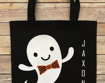 Little Ghost Boy's Trick or Treat Tote,  Custom Halloween Tote Bag, Trick or Treat Tote, Halloween Tote, Trick or Treat, Halloween Bag