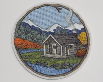 Outdoor Iron-On Patch. Embroidered Patch. Sew-on Patch. Glue-on Patch. Camping Lovers Patch. Walk in Woods Cabin Patch