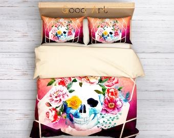 Sugar Skull Duvet Cover,Bedding Set Single,Twin,Queen,King,Skull Bedding,Floral Skull Bedding,Watercolor Sugar Skull Bedding