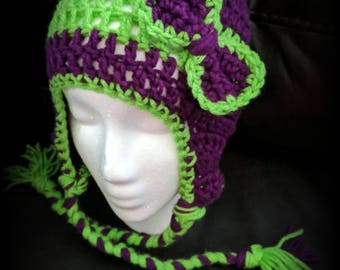 Purple and green girls hat • purple and green • girls • Halloween • bow • ear warmer • girly