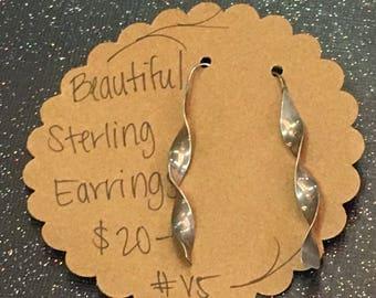 Sterling Silver French Twist Dangle Earrings