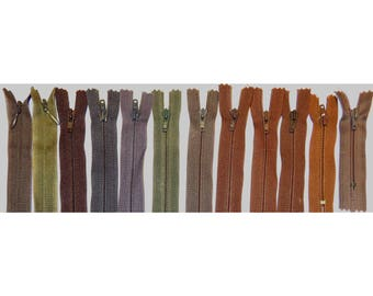 Set 12 tone Brown #3 zippers