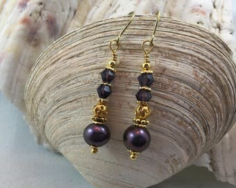 Delicate Deep Violet Fresh Water Pearl Czech Crystal Drop/Dangle Earrings