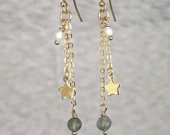 14K GOLD FILLED Star & Labradorite Earrings, gold, minimalist, grey gemstone, long earrings, everyday modern, simple, by Little Motives