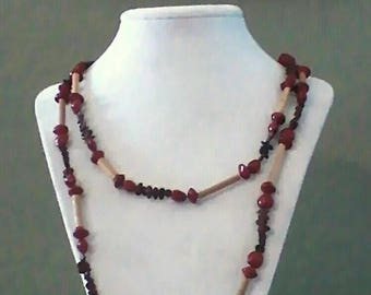 Necklace, long vintage beads & seeds