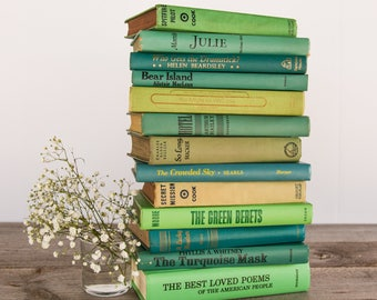 Set of 13 Old Green Decorative Books for Decor, Instant Library, Antique Aquamarine Book, Vintage Book Themed Wedding Decor, Turquoise, Mint