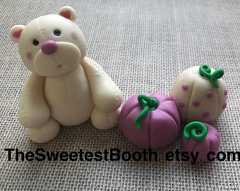 Fondant Teddy Bear Little Pumpkin Baby Shower Cake Topper