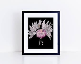 Pink Ballerina Print/ Ballerina Wall Art/Fashion Print/Fashion Art/Girl Decor/Boho Decor/Botanic Print/Ballerina home decor/Boho Print