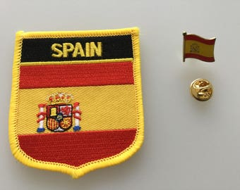 Spain Shield Country Flag Embroidered Patch and Pin Badge Set