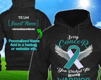 Personalized Cervical Cancer Awareness Hoodie Teal White Ribbon Warrior Men Women Kid Youth Custom Unisex Pullover Support Gift Winter Cloth