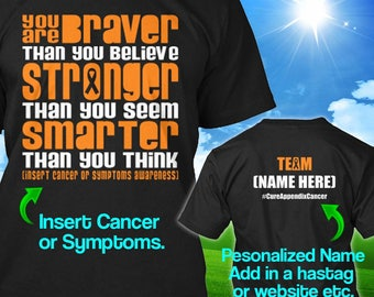 Personalized Appendix Cancer Awareness Tshirt Amber Ribbon Braver Support Survivor Custom T-shirt Apparel Unisex Women Youth Kids Tee