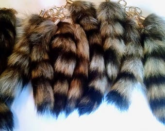 Lot of 10 Raccoon Tail Keychains