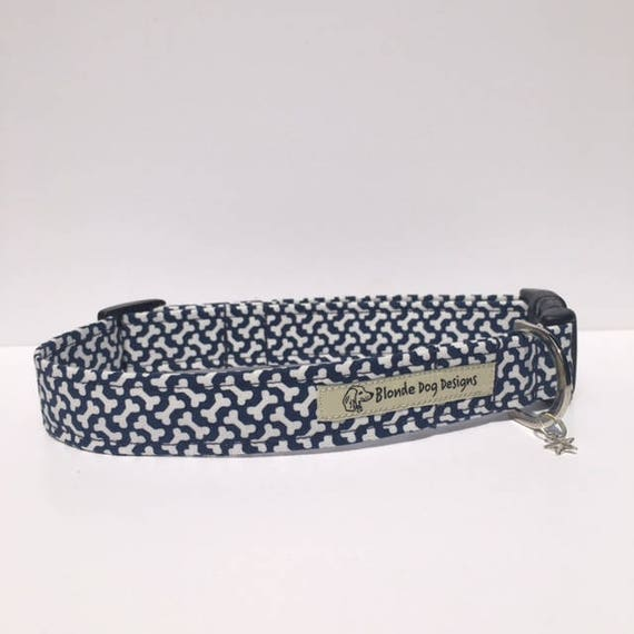 Cute Dog Collar, or, Cute Dog Lead, Navy Blue Bones, Blue Dog Collar, Dog Collar UK.