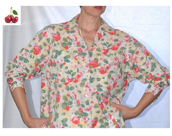 Cacharel 90's floral blouse shirt with flowers Cacharel blouse Bohemian Gypsy garden collection Blouse vintage french bohemian floral shirt