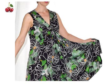 Vintage 80s graphic print midi dress tie neck dress V neck dress with Ascot dress collar tie sleeveless Animal print dress
