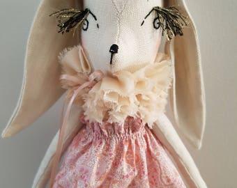 Handmade Bunny Doll 17 Inch / Cloth Doll / Fabric Doll / Heirloom Doll