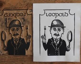 Patron Sinner of Gluttony Leopold Bloom Linocut 8x10