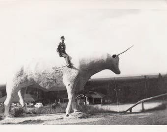 Vintage Photo Man Riding Gigantic OX Bull Statue Weird Strange Abstract Art Found Black & White Photography Ephemera Interior Design Decor