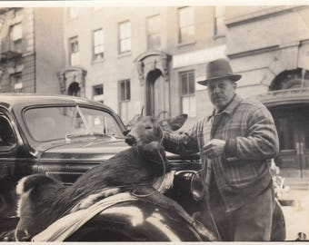 Vintage Photo Hunter With Dead Deer Tied to Antique Car Oddity Weird Strange Found Black & White Photo Paper Art Ephemera Snapshot Mood