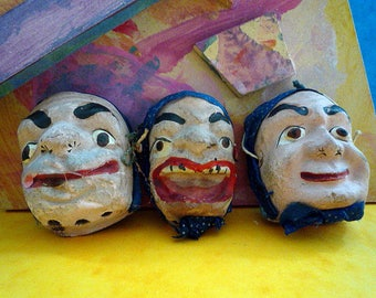 Ref 085 ANTIQUE MINIATURE HALLOWEEN Masks, Folk Art, Papier Mache, Hand Made and Painted  Fasching Masks Germany ca 1900