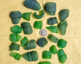 Scottish Beachcombed Sea Glass: Green Shades Sea Worn Patterned Bottle Top Pieces for Crafts/Mosaics 25 pieces 200g