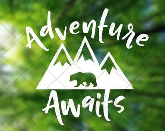 Adventure Awaits - Mountains with Bear - Car decal - Laptop decal - Hiking - Adventure seeking - Hiker decal - Travel
