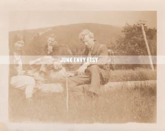 Antique Photograph . Group of Friends . Mountain Photo . Digital Download . High Resolution Scan