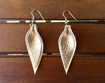 Rose Gold Double Leather Leaf Earrings