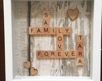 Handmade personalised wooden scrabble frame with wood effect background. Custom made to your requirements. Home decor