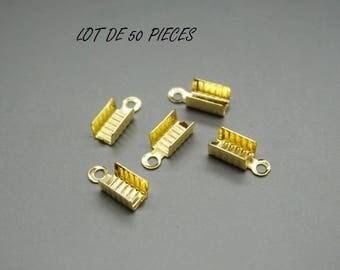 Set of 50 crimp end caps Golden (U49)