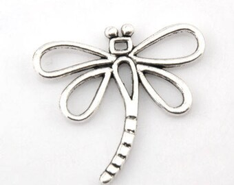 SET of 5 Silver insect (C54) Dragonfly charms