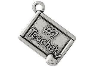 Set of 5 silver charms master teacher school teacher graduate (D10)