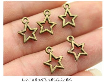 SET of 15 charms star color bronze (R39)