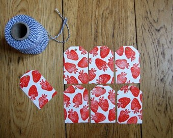 Strawberry tags. stamped by hand. set of 6 labels