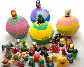 Sale this week only! Kids Bath Bomb Set Inspired Marvel Friends and Foes with Marvel Toys; All Natural Vegan, Homemade with Texas Size Love