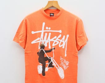 Vintage STUSSY Do Your Thang!! Streetwear Pop Art Orange Tee T Shirt Size M