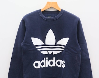 Vintage ADIDAS Trifoil Big Logo Sportswear Blue Sweater Sweatshirt Size S