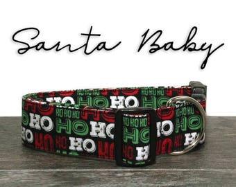 Christmas Dog Collar, Ho Ho Ho Dog Collar, Santa Dog Collar, Holiday Dog Collar, Christmas Collars, Gift for Dogs, Dog Lover Gift, Xmas Gift