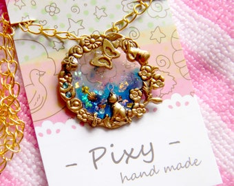 The Secret Blue Pendant Necklace Handmade Ornament Resin UV