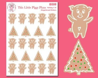 Gingerbread Oinkers - Gingerbread Cookies Planner Stickers - Gingerbread Stickers - Christmas Cookies - Christmas Stickers - [Holiday 1-14]